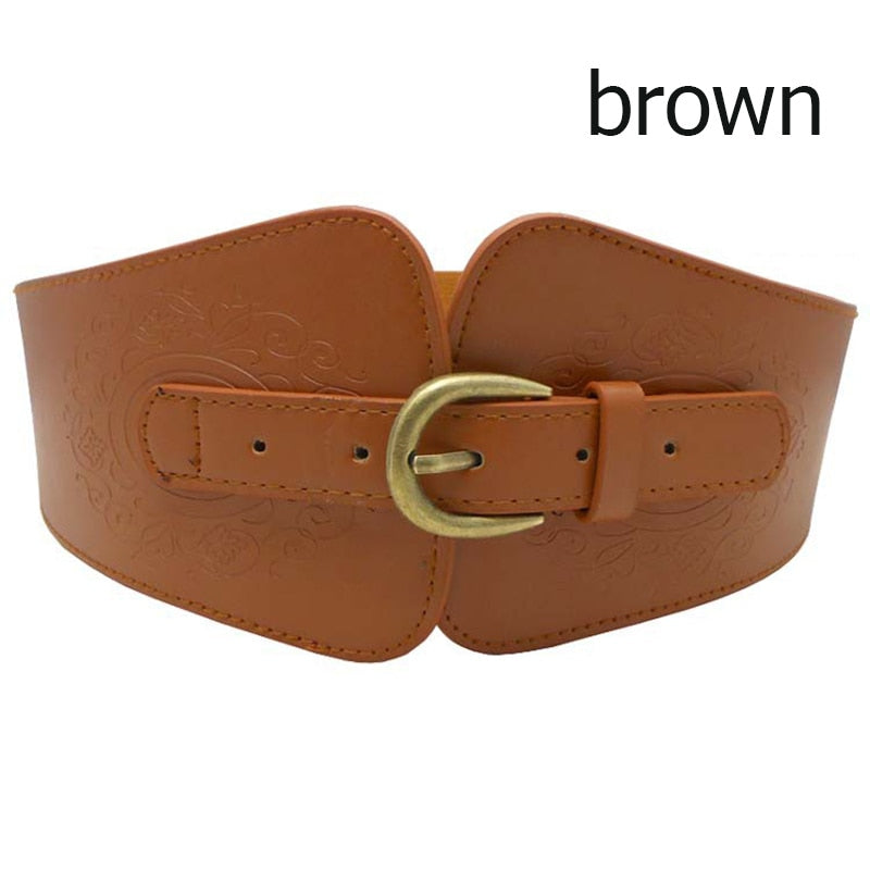 Retro Imitation Leather Pin Buckle Wide Belt