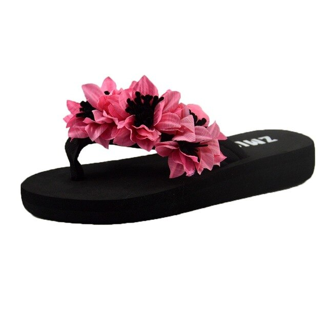 Sandals Home Bathroom Beach Flip Flops Shoes Non-slip Flat Soft Shoes Outdoor Sandal Ladies Women Muffin Flat Bottom Slippers