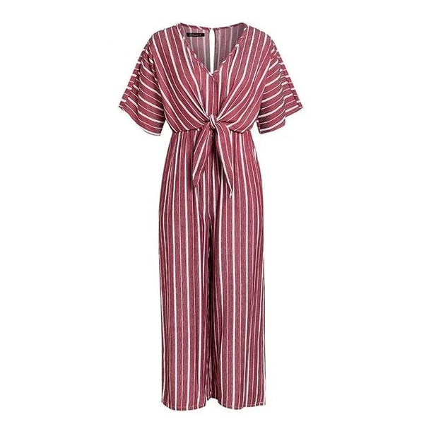 Simplee Vintage V Neck Long Jumpsuit