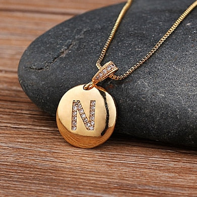 Initial Letter Necklace Gold  Pendants Copper