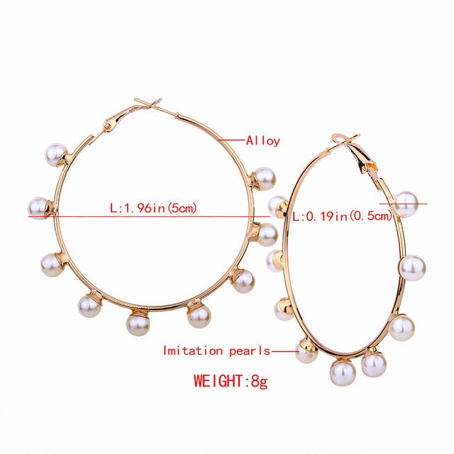 White Imitation Pearl Round Circle Hoop Earrings