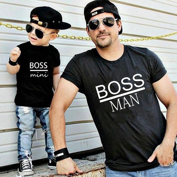 BOSS MAN and BOSS mini Little print Family Matching Father Son Kids Clothes Baby boy  Father and Son Family Look Summer Clothes