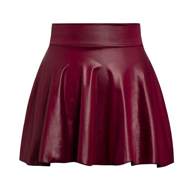Simple Elegant Faux Leather Women Skirt