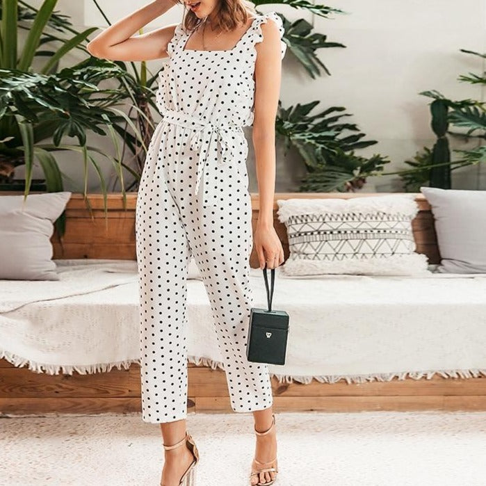 Polka Dot Ruffles Women Jumpsuits