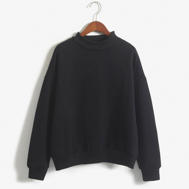 Neck Long Sleeve Velvet Warm Sweatshirts