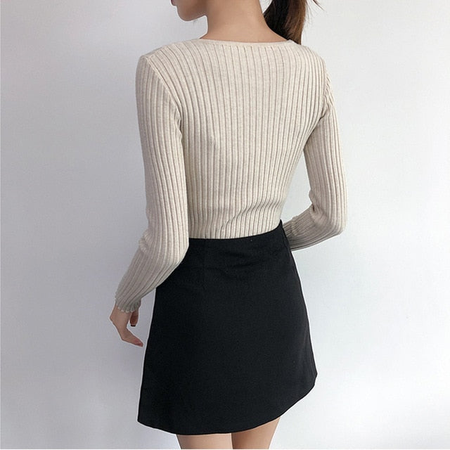 V Neck Long Sleeve Sweater