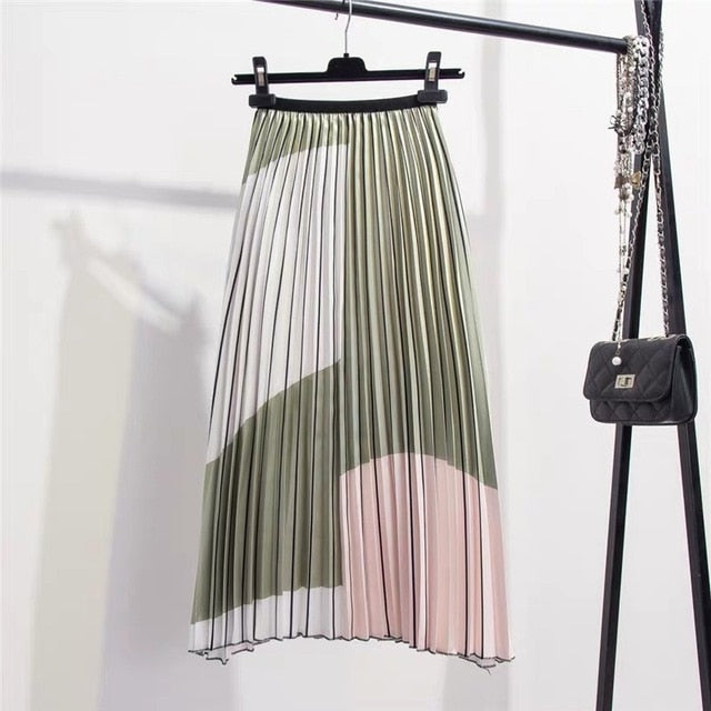 Summer Contrast Color Splice Pleated Skirt