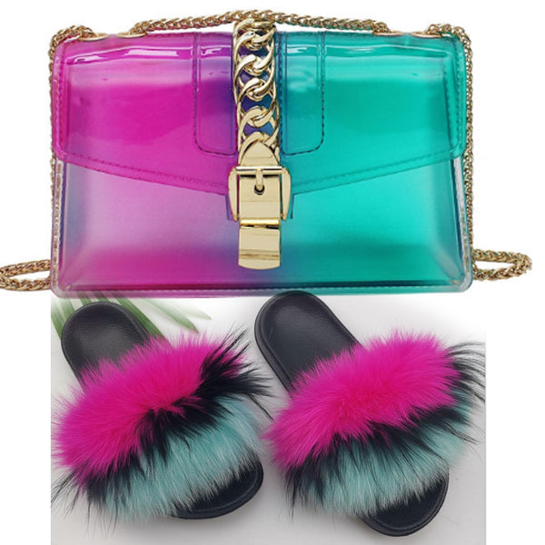 Fur Slides Bag Set