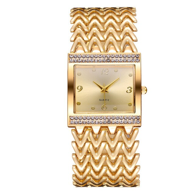 Women Rose Gold Stainless Steel Square Diamond Watches Luxury Waterproof Quartz Bracelet Wrist Watches Relogio Feminino