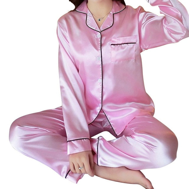 Women Pajama Sets Silk Satin Pijama Turn-down Collar Sleepwear Long Sleeve Spring Nightwear Femme 2 Pieces Sets Homewear