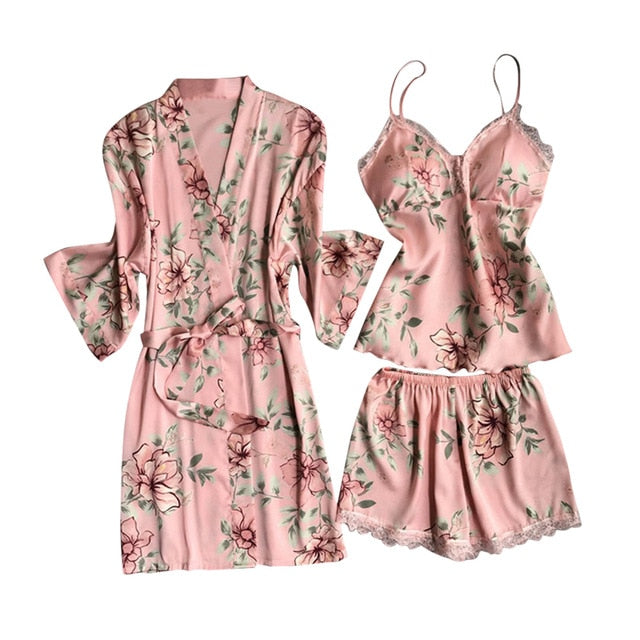 Women Floral Pajamas Sets Sexy Lace Tops + Shorts +Robe Sleepwear Sets Casual Ladies Flower Homewear Summer Spring Thin Set
