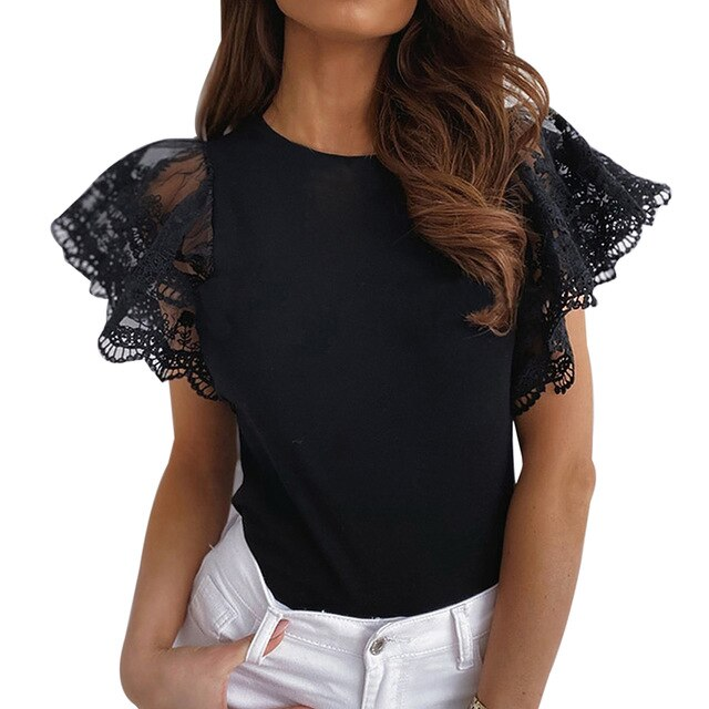 Ladies Lace Casual Ruffle blouse