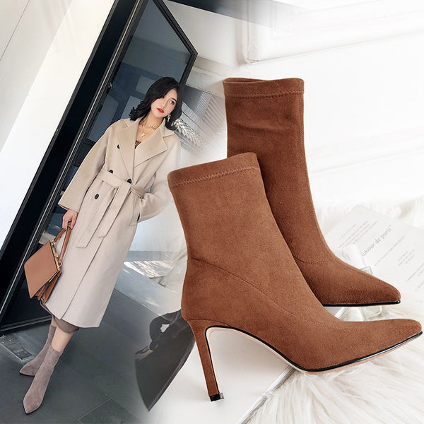 Women boots pointed toe super high heel