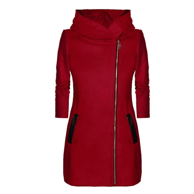 Slim Black Red Gray Hooded Thick Jacket