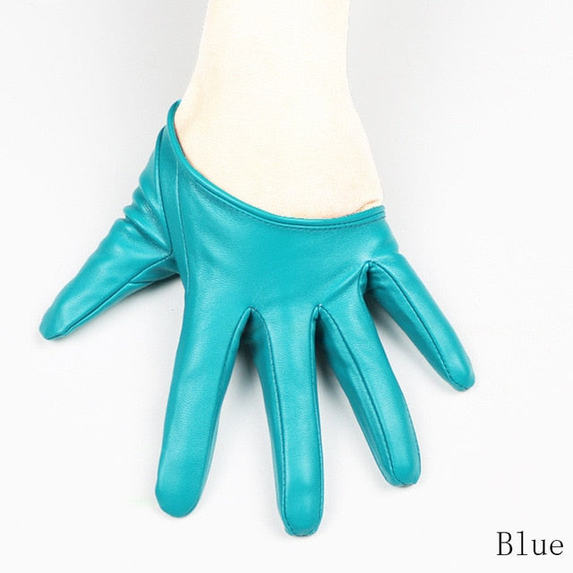 Leather Gloves for Women Half Palm
