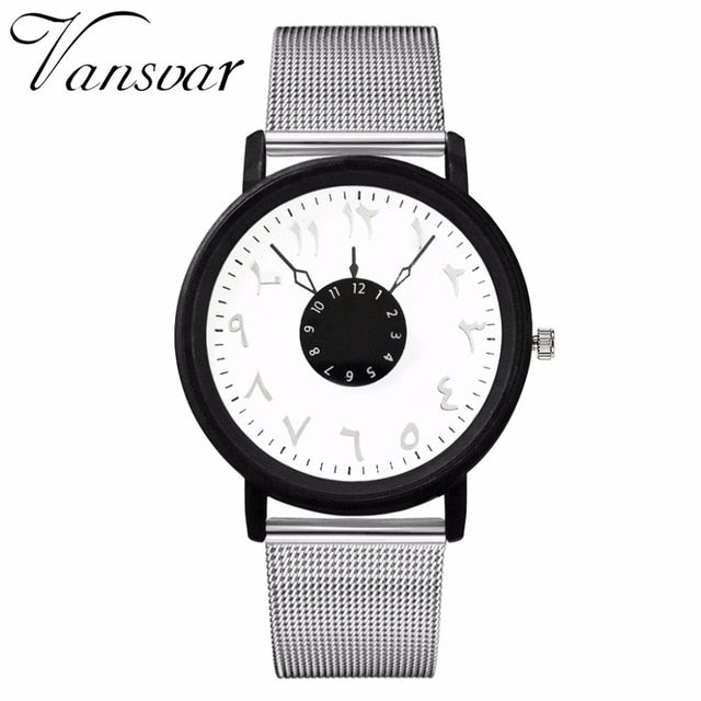 Vansvar Brand Fashion Women Arabic Numbers Watch Luxury Creative Turn Dial Stainless Steel Quartz Watch Relogio Feminino