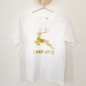 Adults Custom Christmas Tee - Metallic Gold Reindeer on White
