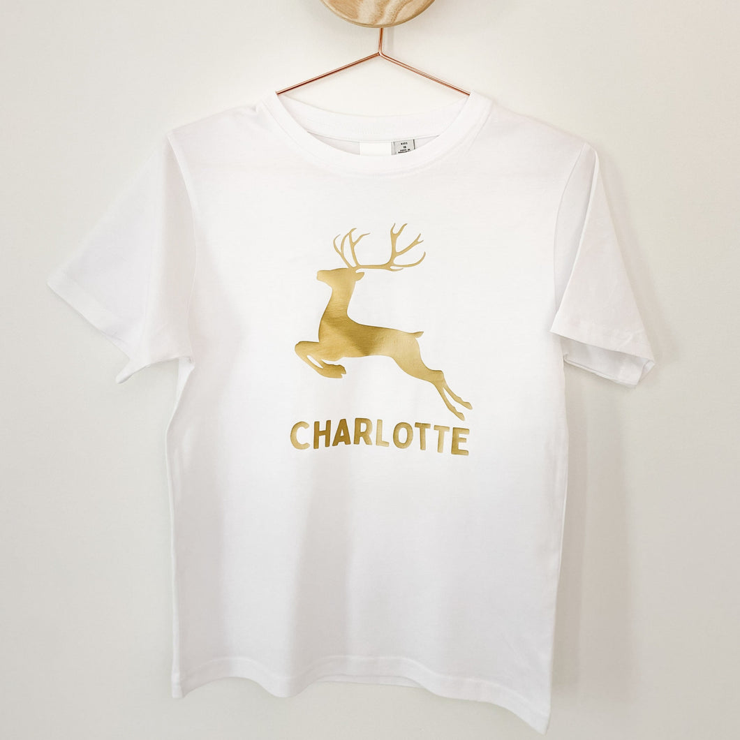 Infants/Kids Custom Christmas Tee - Metallic Gold Reindeer on White