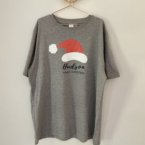 Ladies Custom Christmas Tee - Santa Hat on Grey Marle