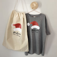 Load image into Gallery viewer, Infants/Kids Custom Christmas Tee - Santa Hat on Grey Marle