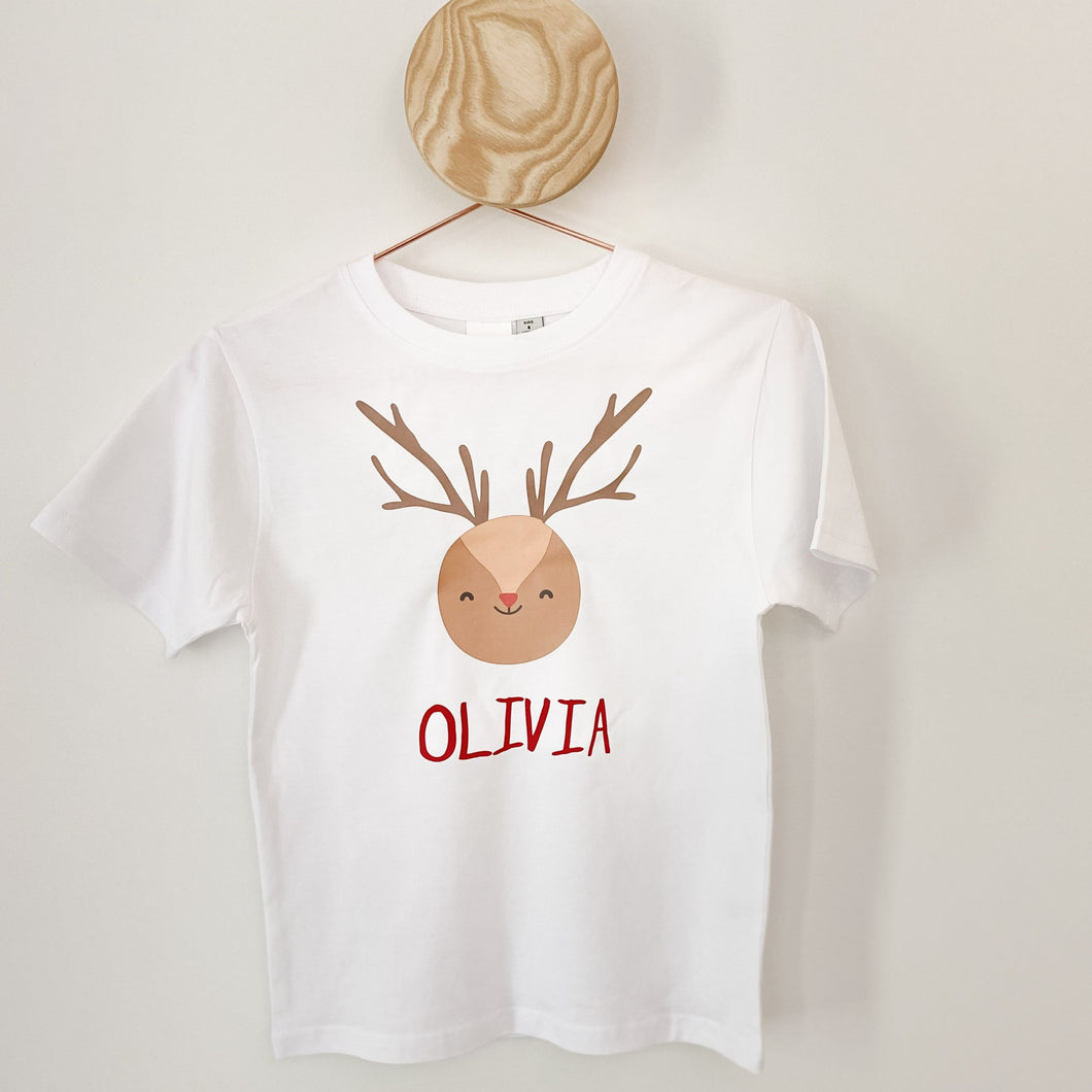 Adults Custom Christmas Tee - Round Reindeer on White
