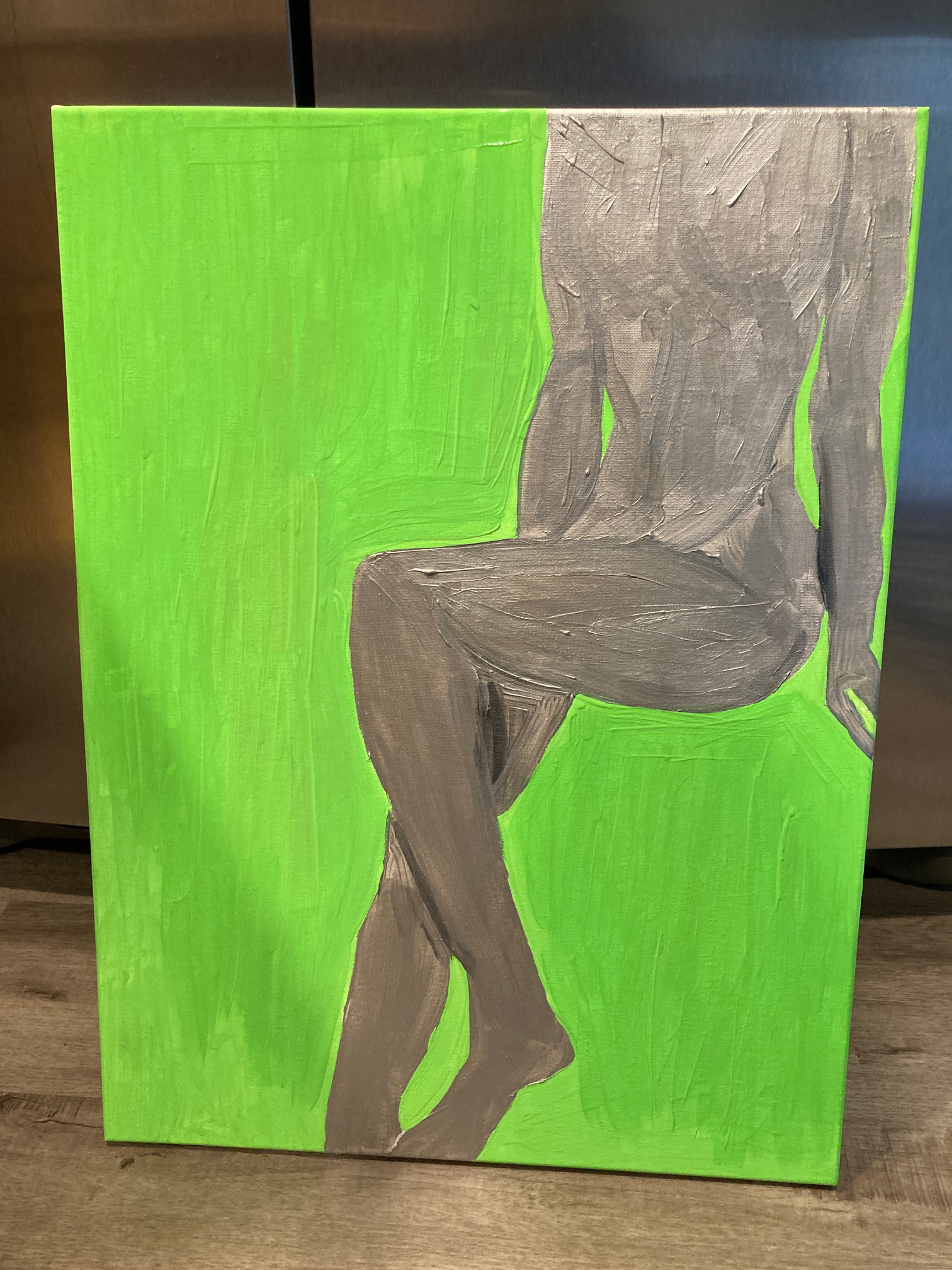 Lime & Silver Painting