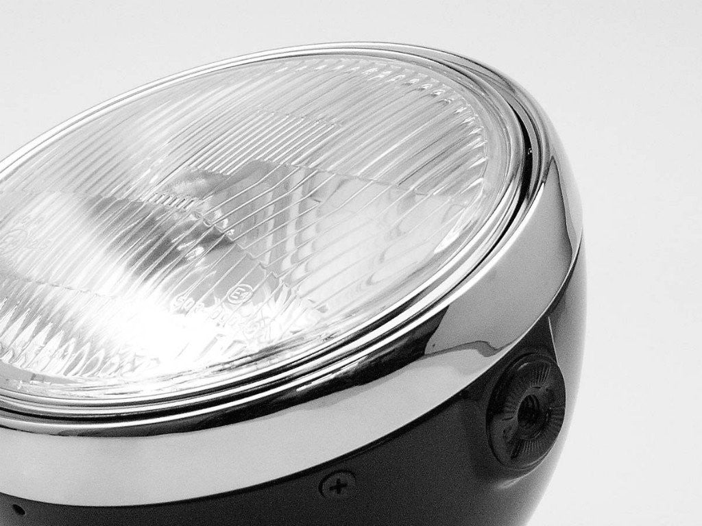"Headlight, 7"", Black & Chrome, Cafe Style"