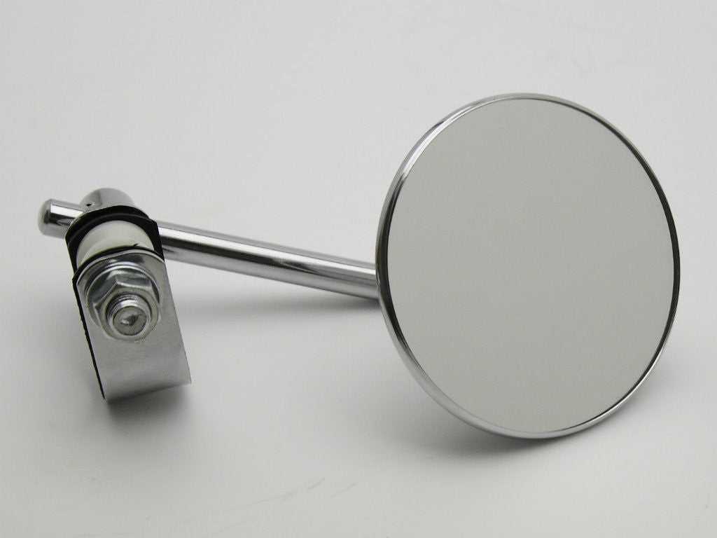 "Mirror, 3"" Round, Chrome, Universal, Clamp-type"
