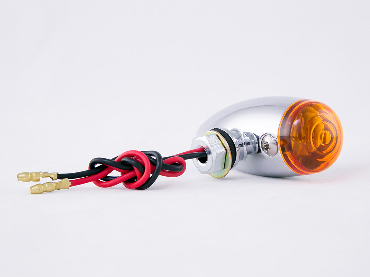 Indicators, Bullet, Slimline, Chrome, Amber Lens