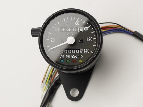 Speedo, 60mm, with Warning Lights, Black, 140KPH