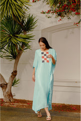 RW2102 Checks Embroidered Long Kaftan