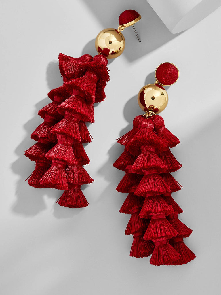 K.BLU Selects- Maroon Tassel Layers Earrings 30% Markdown