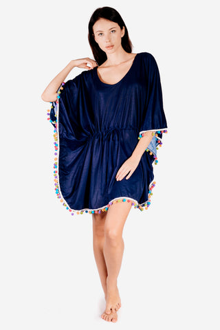 Navy Kaftan Dress with colourful pom pom trim
