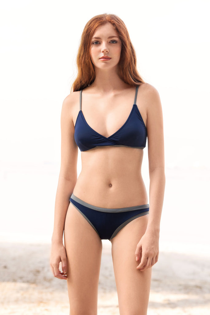 KENZILILY BLUE LAGOON SOLID NAVY BLUE BIKINI SET (U.P to 50% OFF)