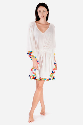 White Kaftan Dress with colourful pom pom trim