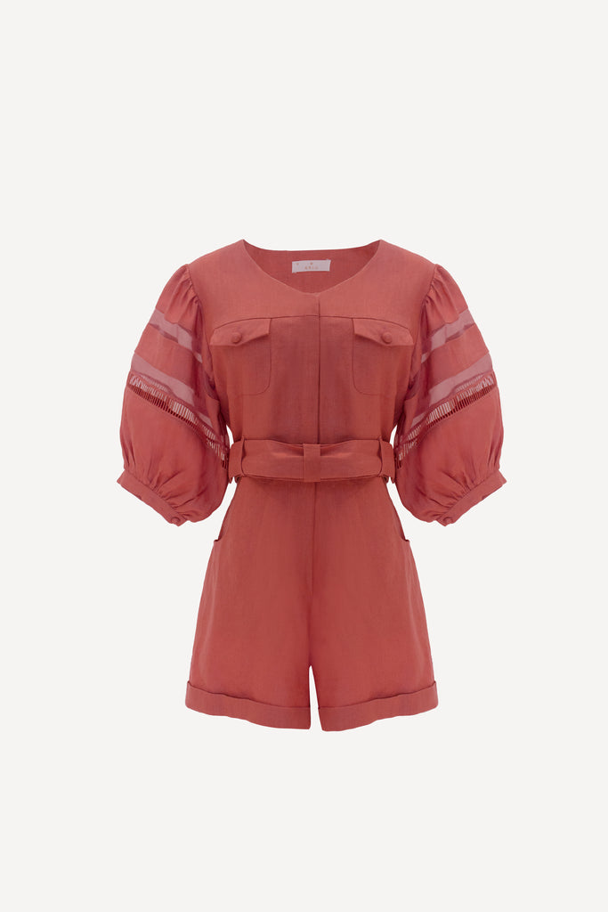 RW2020- Dusty Rose Linen Romper