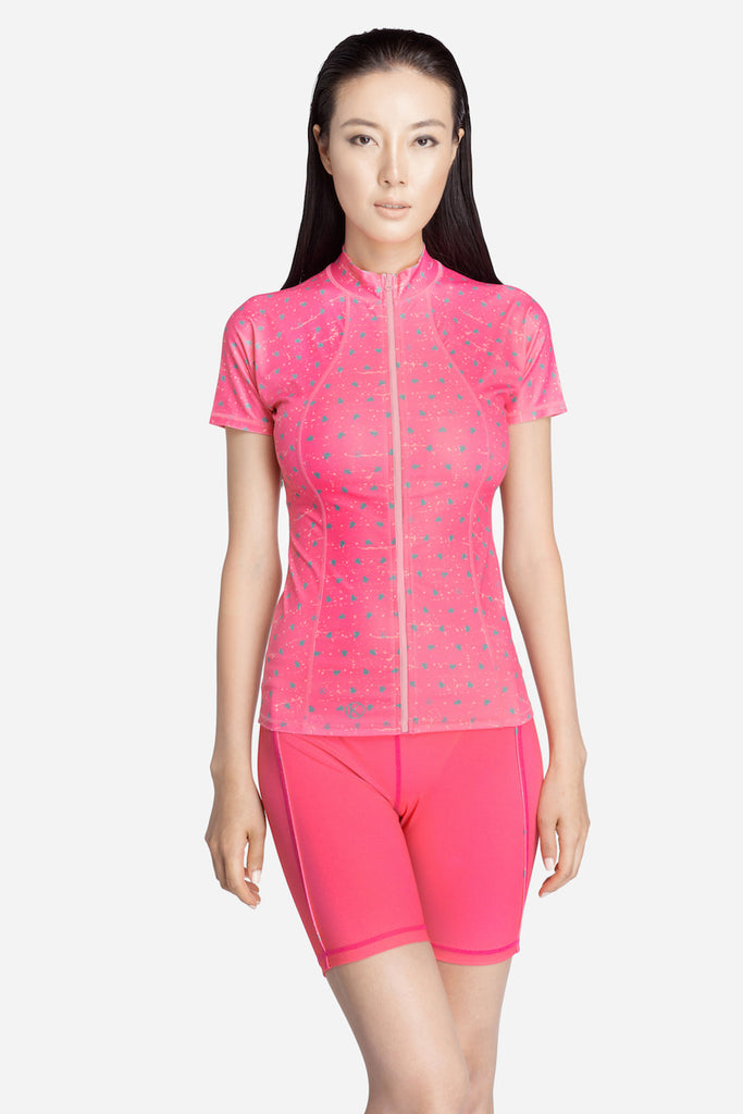 Pink Short Sleeve Rash Guard-70% OFF