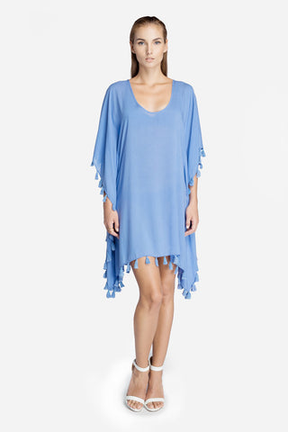 Periwinkle Kaftan with Mini Tassels