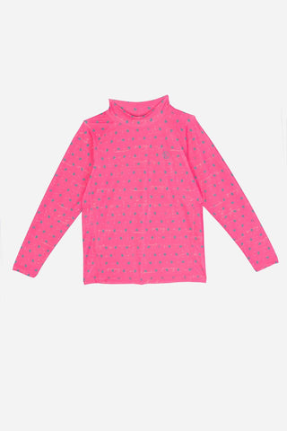 Kids Long-Sleeved Candy Pink Rash Guard With Turtle Prints - on 70% off UP S$110