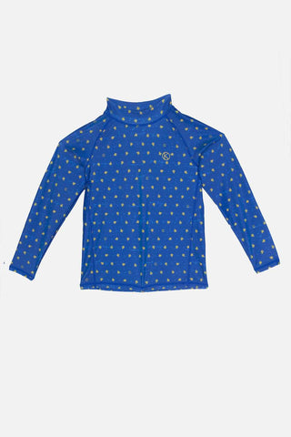 Kids Long-Sleeved Blue Rash Guard With Turtle Prints-on 70% off UP S$110