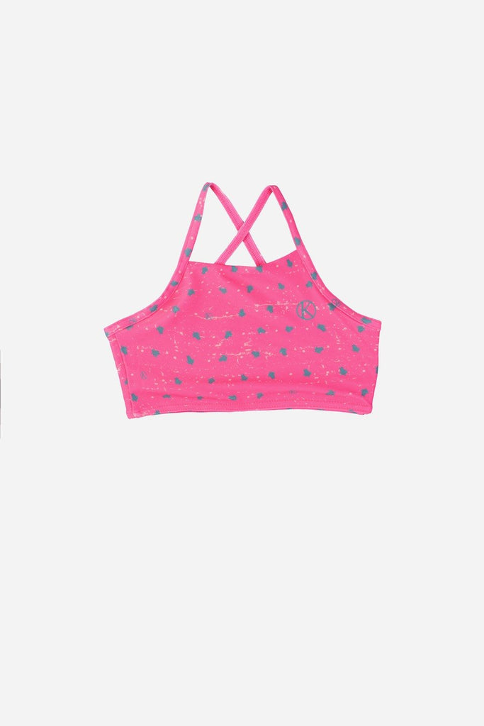 Girls Candy Pink Two Piece Set Bikini With Turtle Prints - on 50% off - UP S$100