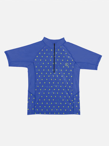 Kids Short Sleeved Blue Rash Guard With Turtle Prints - 70% off
