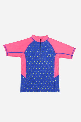 Kids Short Sleeved Blue Rash Guard With Contrasting Magenta Panels And Turtle Prints -70% off