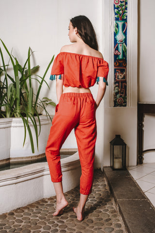 Ready To Wear - Red Pants with Elastic Band