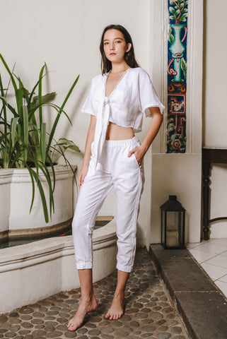 Ready To Wear - White Linen Front Tie Top