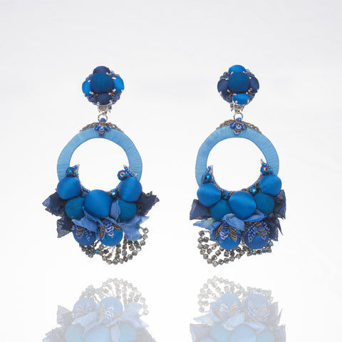 Ranjana Khan Posie blue floral circle earrings