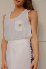 RW31002- White Or Pink Embellished Linen Blend Tank Top