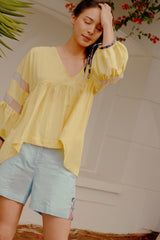 RW31005Y- Yellow Gathered Cotton Top