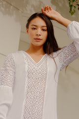 RW31000 - Lace-Panelled White Cotton Kaftan