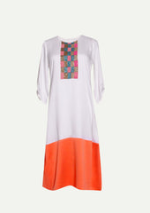 RW2101C - Coral Box Embroidered Tunic Dress